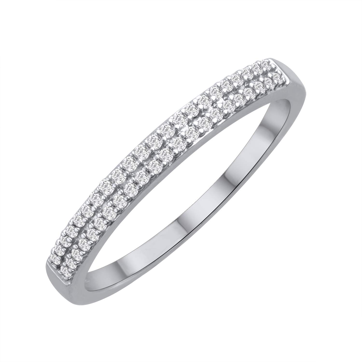 10k White Gold Two Row Diamond Stackable Band Ring (0.12 cttw, H-I Color, I3 Clarity), Size 7