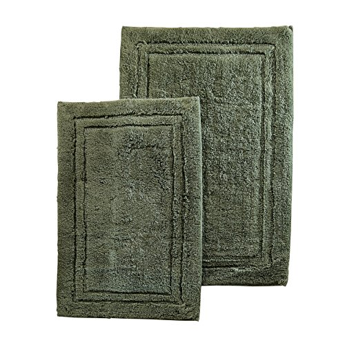 Concentric Rectangle Green Rug - Two Piece Superior Luxurious Forest Green Bath Rug Set, Mate, Non-Skidding, Non-Reversible Features Solid Color And Border Pattern, Simple Elegance Design, Combed Cotton Material, Sage Green