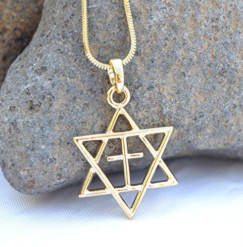 H.quality Necklace & Pendant Rhodium Gold .Jewish Star of David&cross Holyland ()