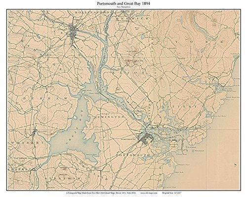 Amazon.com: Portsmouth and Great Bay 1894 Old Topographic ...