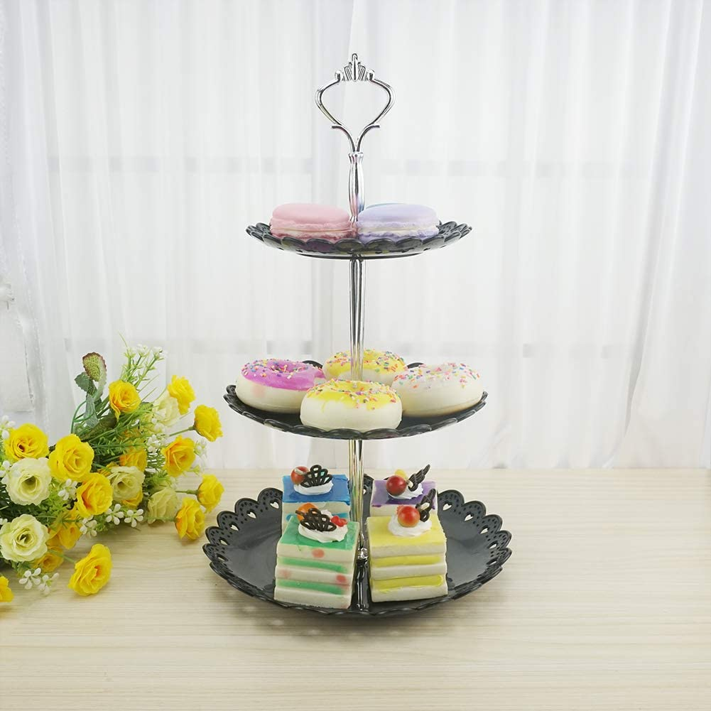 Hetoco 3-Tier White Plastic Dessert Stand Pastry Stand Cake Stand Cupcake Stand Holder Serving Platter for Party Wedding Home Decor