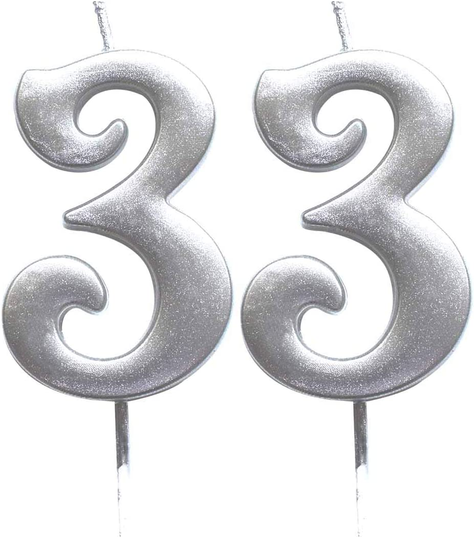 Number 33 Cake Topper Candles Party Decoration for Women or Men MAGJUCHE Silver 33rd Birthday Numeral Candle