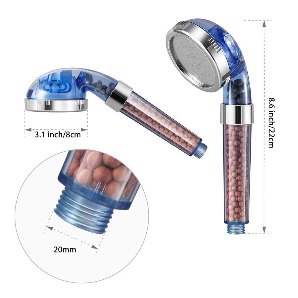 Anion Energy Ball Handheld Shower for Dry Hair /& Skin SPA Filter Filtration Modohe Lonic Shower Head with 3 Modes Adjustable High Pressure /& Water Saving Showerhead for Best Shower Experience