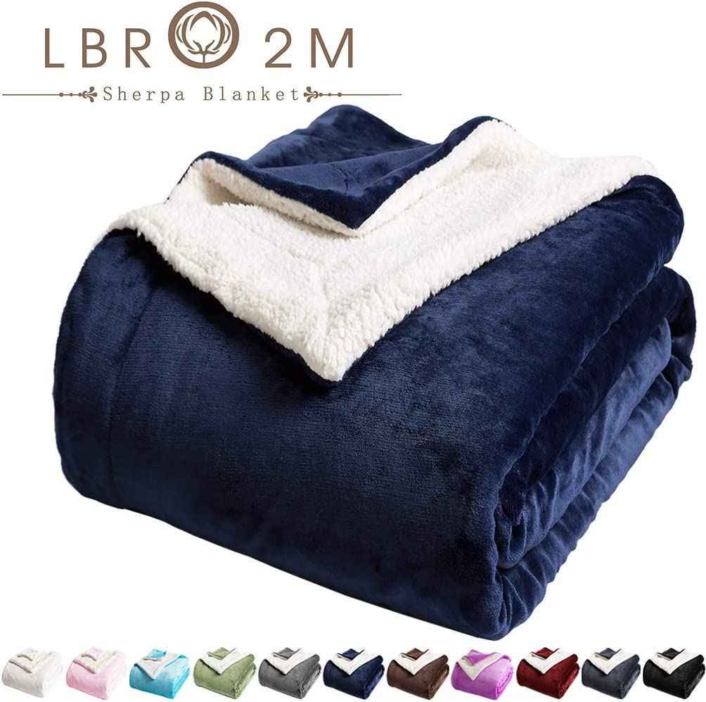 LBRO2M Sherpa Fleece Bed Blanket King Size Super Soft Fuzzy Plush Warm Cozy Fluffy Microfiber Couch Throw Velvet Double Reversible Luxurious Blankets (Navy Blue, King(90x104 Inches))