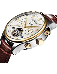 Men Luxury Brand Tourbillon Wristwatch Leather Watch Sports Automatic Mechanical Mens Watches