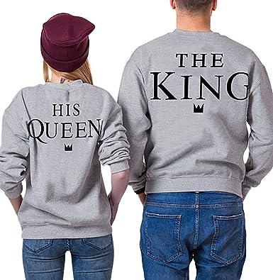 Pärchen Pullover Set King Queen Pulli Couple Pullover Sweater Partner  Pullover Schwarz Weiß Tops Damen Herbst 301beca6aa