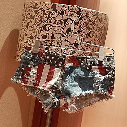 WSLCN Mini Short en Denim Femme Shorts /à imprim/é Drapeau Am/éricain Jeans Trou/é D/échir/é Pantacourts Club Wear Ripped Hot Shorts Et/é Taille Baisse Denim
