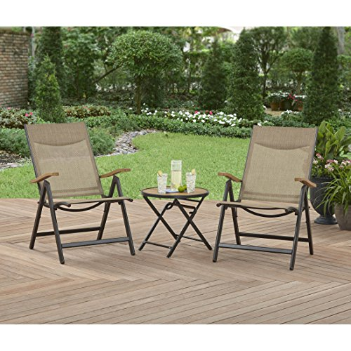 Marbrisa Dining Table (Faux Wood Tabletop Adjustable Weather Resistant Attractive 3 Pc Foldable Bistro Set)