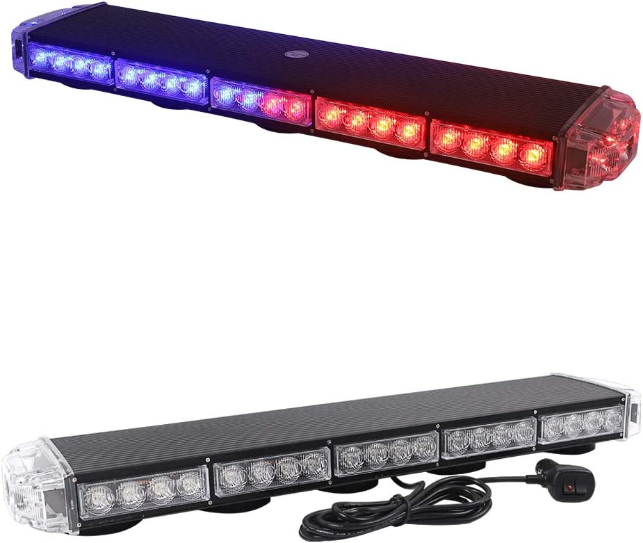 Amber for Snow Plow Police Truck Vehicle 25 Strobe Light Bar//LED Flashing Beacon//Emergency Warning Response Signal Rooftop w//Magnetic Base