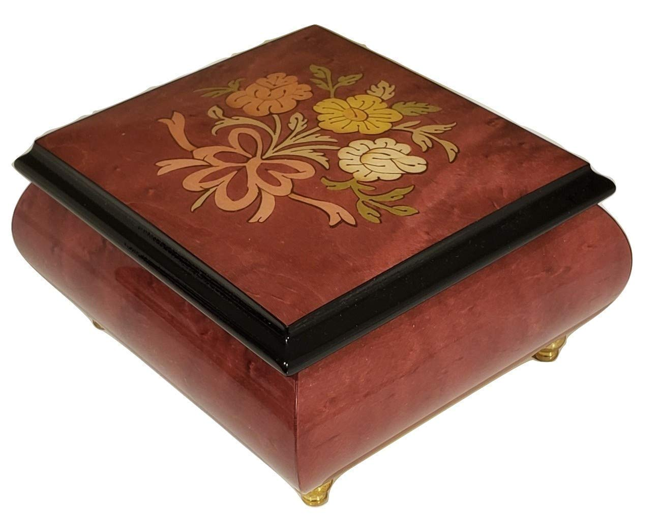 Wine Colored Floral Italian inlaid music box//jewelry box with customizable tune options in elegant high gloss finish