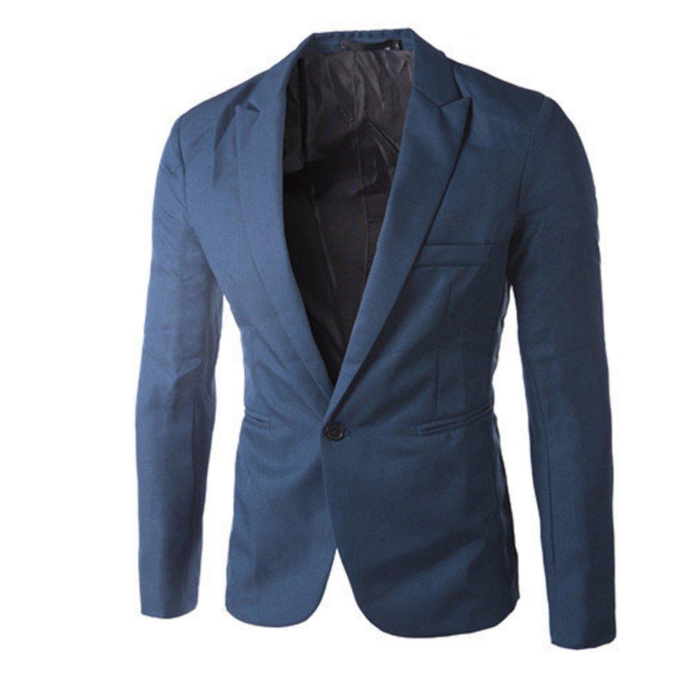 REYO Mens Coat Big Promotion Charm Casual Coat Slim Fit One Button Suit Blazer Coat Jacket Tops Men Fashion