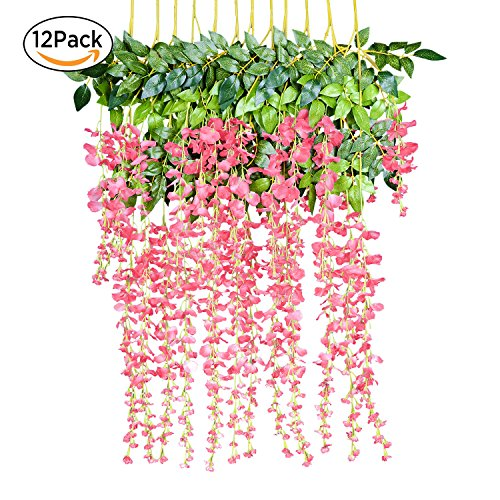 12 Pack 1 Piece 3.6 Feet Artificial Fake Wisteria Vine Ratta Hanging Garland Silk Flowers String Home Party Wedding Decor (Pink) - Wedding String