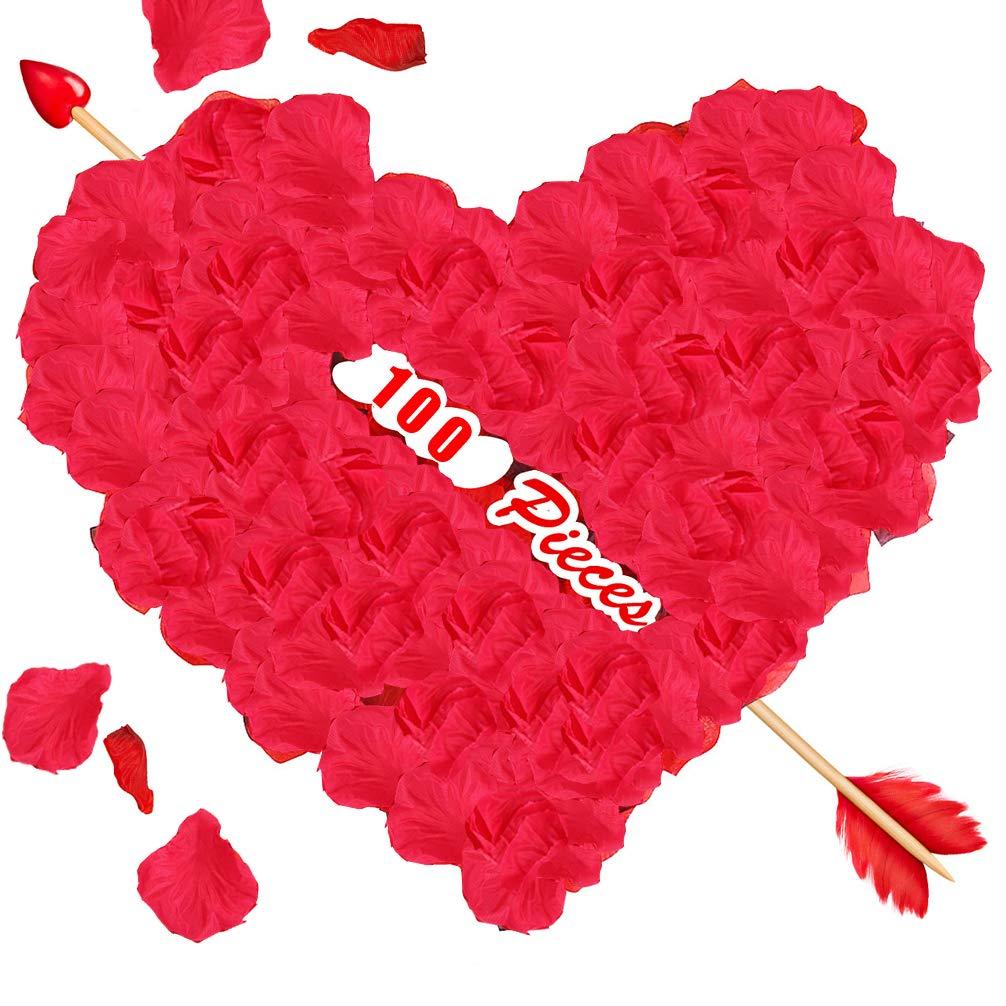 RichBoo Petals De Rose Wedding-Red Rose-Petals for Romantic-Night, Valentine-Backdrops Party-Confetti