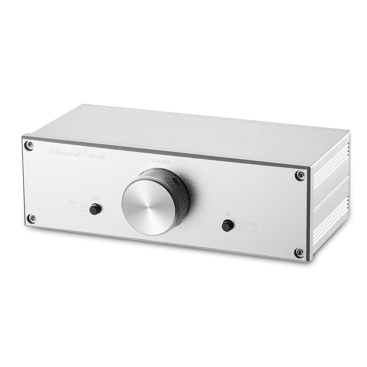 Nobsound Mini Fully-Balanced/Single-Ended Passive Preamp; Hi-Fi Pre-Amplifier; XLR/RCA Volume Controller for Active Monitor Speakers (Silver) 6245435007062