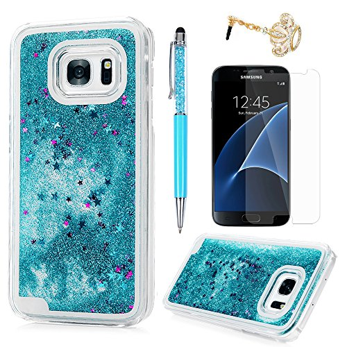 S7 Case, Samsung Galaxy S7 Case - Flowing Liquid Floating Bling Glitter Sparkle Stars Hard PC Cover Cute Creative Design Lightweight Ultra Slim Protective Cover Stylus Pen Dust Plug by Badalink - Blue