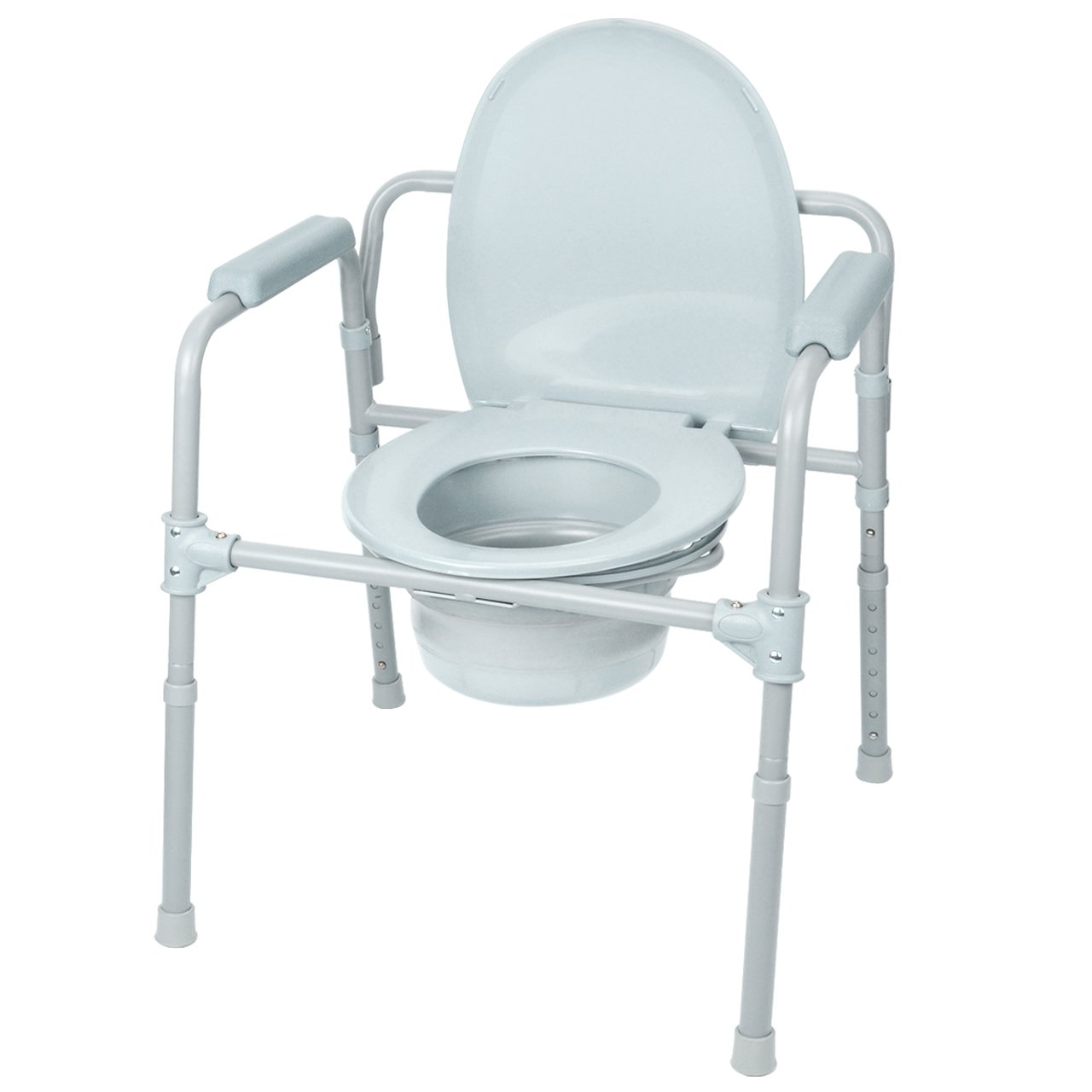 LIVINGbasics 7 Position Commode Chair Aluminum alloy Toilet Seat Chair With Folding Commode Bucket, Versatile Design