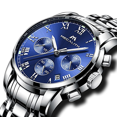 f82314a354aa Mens Watches Men Luxury Waterproof Chronograph Luminous Date Analogue  Stainless Steel Watch Gents Sports Business Casual Dress Wrist Watch. by  megalith