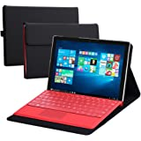 Vanctec for Microsoft Surface Pro 4 Cover, Surface Pro 4 Case, PU Leather Flip Folio Protective Stand Cases Covers Compatible Surface Pro 4 Original Keyboard Type Cover with Pen Holder,Black