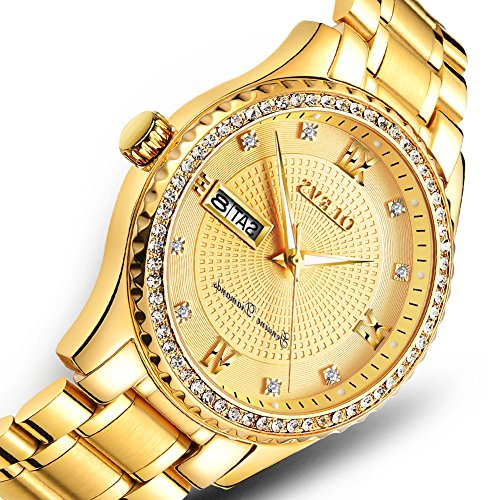 Gold Watches for Men,Diamonds Watch Mens Business Watch,Automatic Stainless Steel Watches for Men,Quartz Wristwatch Waterproof Auto Date Sports Classic Wrist watch Male Golden Dial,Big (Chain Gold Wrist Watch)