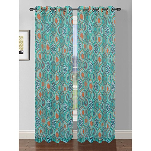 Cheap Window Elements Olina Printed Sheer Extra Wide 54 x 96 in. Grommet Curtain Panel, Aqua