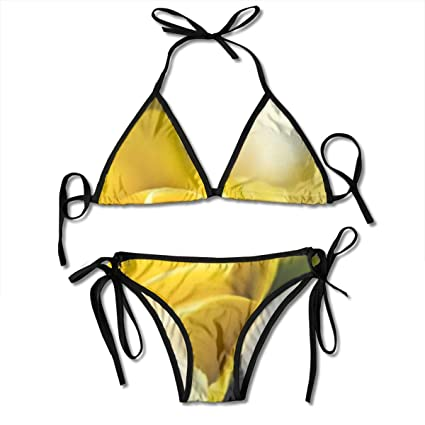 fae1962394fba Image Unavailable. Image not available for. Color: Yellow Roses Art Print  Women's Print Halter Cheeky Bikini Sets Sexy Thong Side Tie Triangle Bathing
