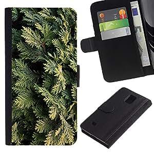 Samsung Galaxy Note 4 IV / SM-N910 Modelo colorido cuero carpeta tirón caso cubierta piel Holster Funda protección - Juniper Leaves Nature Tree