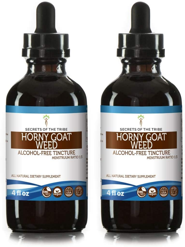 Horny Goat Weed Alcohol-Free Liquid Extract, Organic Horny Goat Weed Epimedium Grandiflorum, Barrenwort Dried Leaf Tincture Supplement 2×4 FL OZ