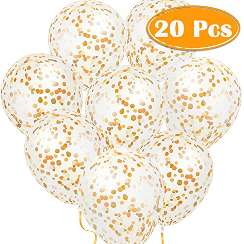 Paxcoo 20 Pcs 12 Gold Confetti Glitter Balloons for Happy New Year Eve Party Decoration Baby Shower Boy Girl Adult Birthday Decorations