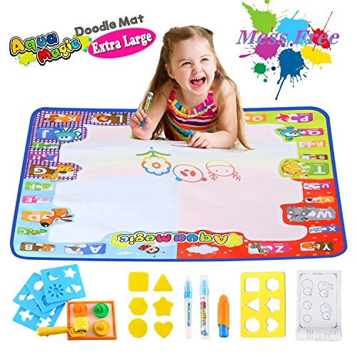 Aqua Doodle Mat Large Educational Water Drawing Mat for Kids Toy Toddler Painting Board with 2 Magic Pens, 1 Magic Brush, and Drawing Accessories for Boys Girls Size 30.3'' x 30.3''