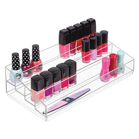 f6a3673c4 mDesign Organizador de maquillaje – Caja transparente con 4 compartimentos  - Ideal para guardar maquillaje y