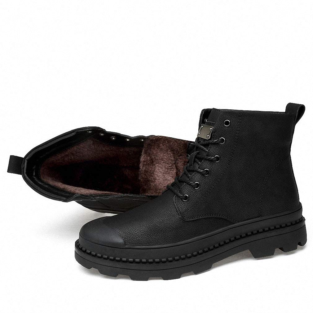 Tebapi Mens Backpacking Boots Winter Fur Warm Snow Boots Men Warm Working Shoes Men Plush Ankle Boots Men Botas Hombre Anti-Skidding High