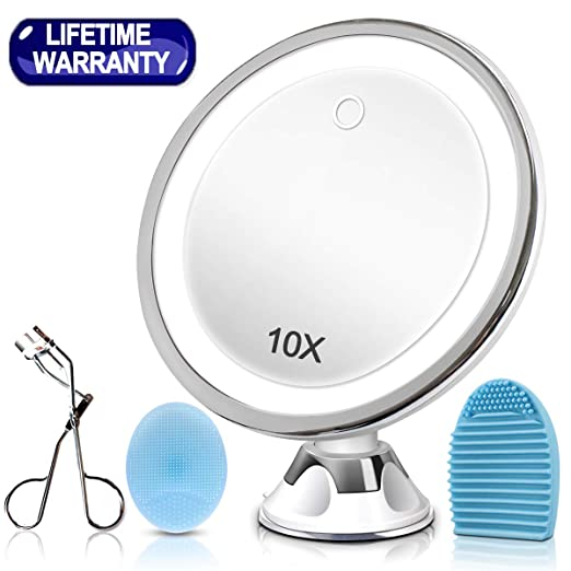 KINBON 10X Magnifying Lighted Makeup Mirror, LED Makeup Cosmetic Mirror - Portable Hand Vanity Magnification Mirrors for Home Tabletop Bathroom with Power Locking Suction Cup, 360 Degree Swivel best led vanity mirrors