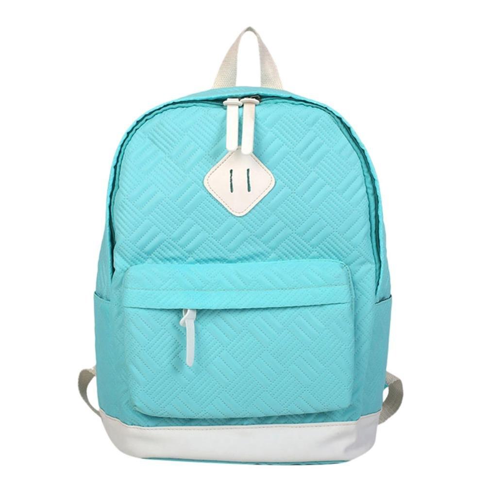 Owill Adult Backpack Teenage Girls Bogs School Backpack Bag Solid Pocket Students Bags (Blue)