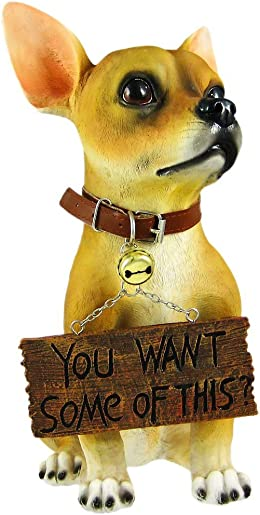 """""""Want Some """" Cute Chihuahua Dog Un-Welcome Statue"""