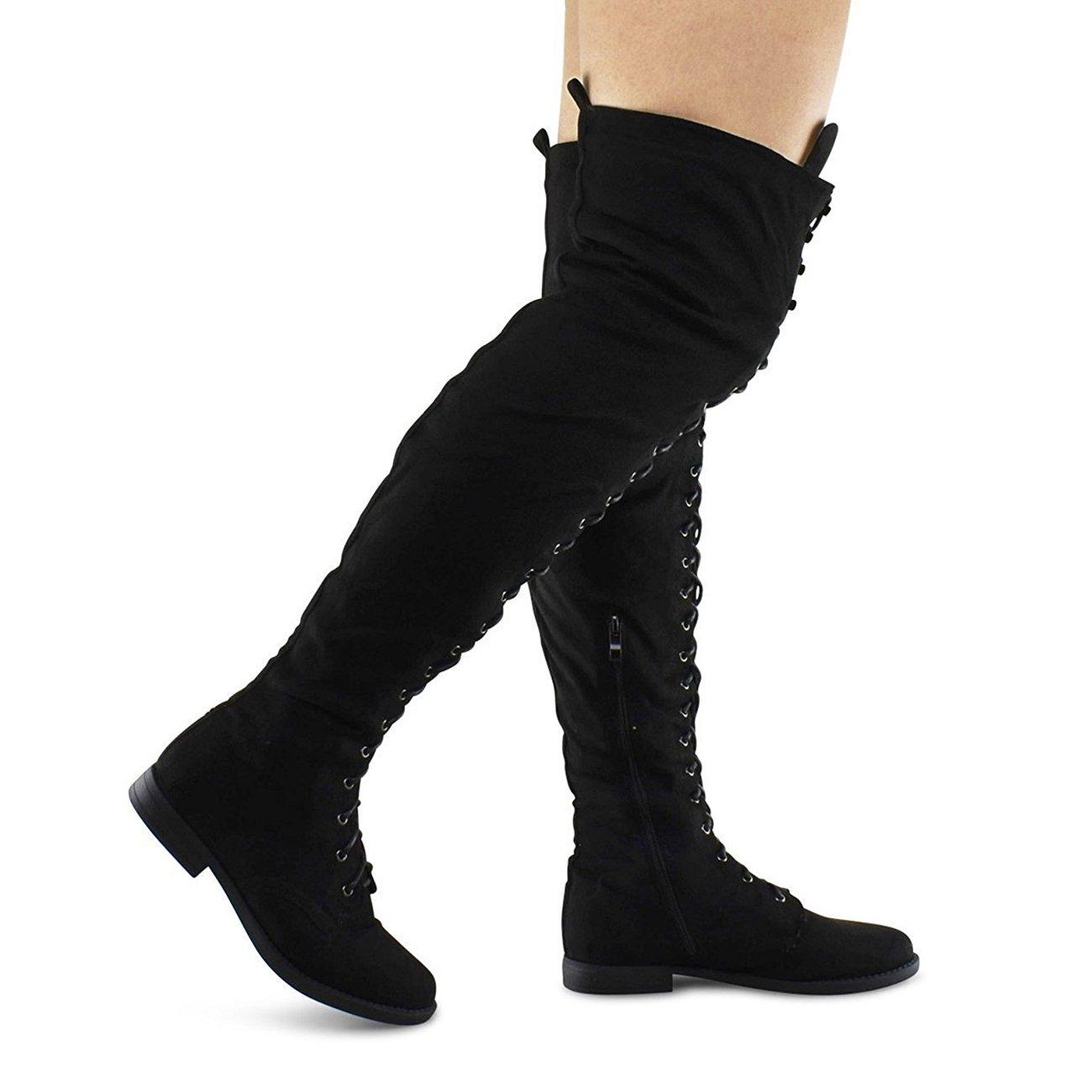 Premier Standard Women's Lace Thigh High Over The Knee Riding Boots - Side Zipper Comfy Vegan Suede B0758XN7NV 7 B(M) US|Black