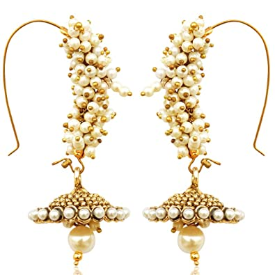 Dancing Girl Women s Chandni Faux Pearl Golden Bali Jhumka Hoop