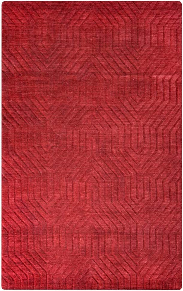 Rizzy Home Technique Collection Wool Area Rug, 3' x 5', Red Solid