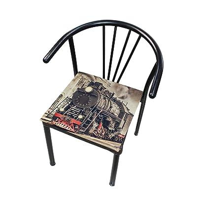 Bardic FICOO Home Patio Chair Cushion Vintage Steam Train Square Cushion Non-Slip Memory Foam Outdoor Seat Cushion, 16x16 Inch: Home & Kitchen