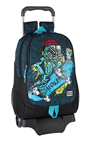"Safta Mochila Tony Hawk ""Monster"" Oficial Escolar Con Carro Safta 330x150x430mm"