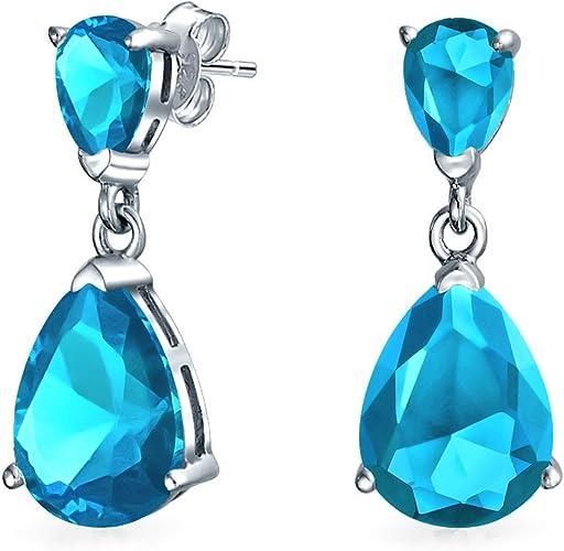 925 Sterling Silver Women Earrings Dangle Blue Crystal Ear Stud Drop Teardrop