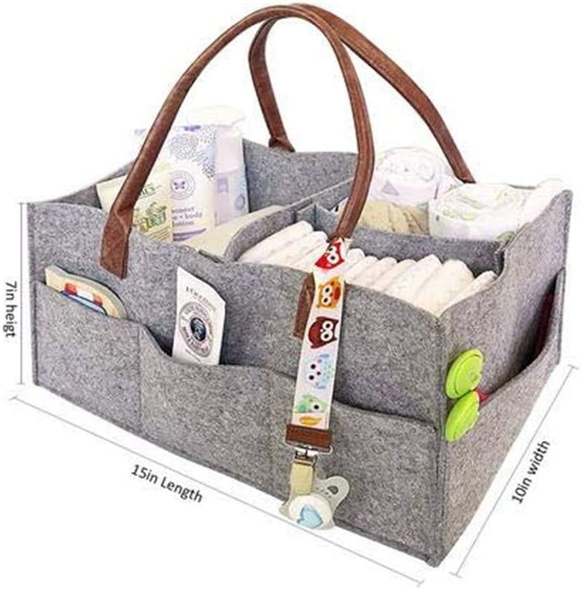 Baby Diaper Caddy,Foldable Portable Infant Nursery Tote Storage Bin Felt Basket Tote Bag With Handle for Diapers,Baby Wipes,Changing Table