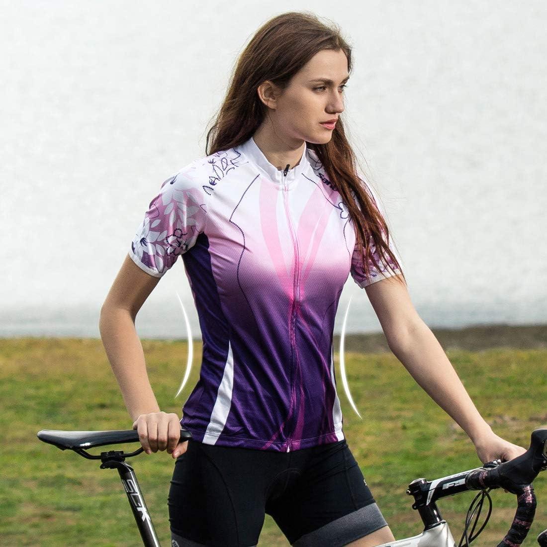 Ciclismo Bicicletta Donna Maglia Manica Corta Maglia da con Coolmax Abbigliamento Ciclismo Antivento Prestazioni Traspirazione