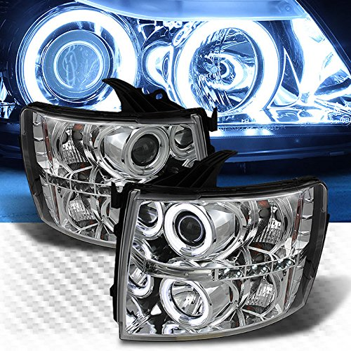 CCFL Halo 2007-2014 Chevy Silverado LED Projector Headlights Head Lights Lamp Pair L+R 2008 2009 2010 2011 2012 (Ccfl Halo Projector Headlights Lamps)