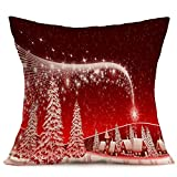 Christmas Creative Home Furnishings Festive Pattern Cotton Linen Pillowcase Cushion Cover Sofa Cushions Cover Pillowcases without The Core
