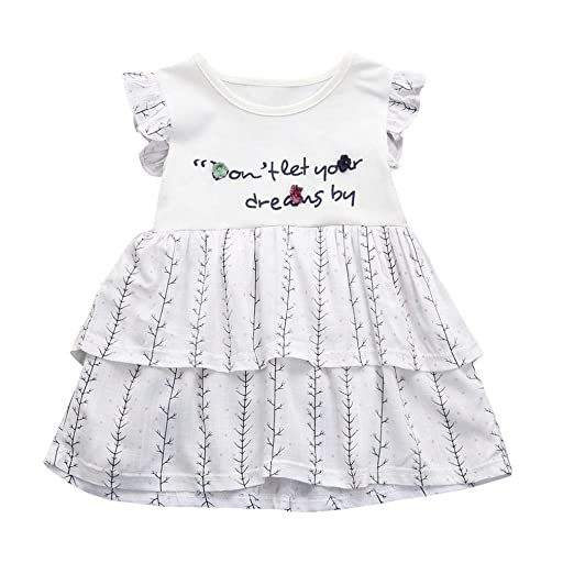 af7a52fae4a Amazon.com  Freshzone Infant Baby Kids Girl Clothes Summer Letter ...
