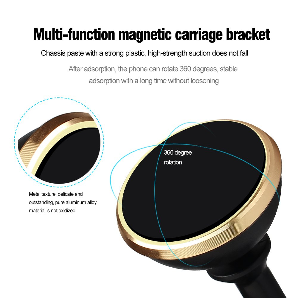 4351630792 Gold Akaho Magnetic Car Mount,360 Degrees Rotating Universal Stick Magnetic Car Holder on Dashboard with Strong Adhesive,Sturdy and Leave No Mark for iPhone 6//7//6 Plus//6S Plus and Most Smartphones