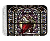 Beshowere Doormat Sacred Heart of JesuPicturefor Living Room Decoration Catholic GiftBelieve Art Christian Decor Church Cathedral Window View Silky Satin Red Black White Blue.jpg