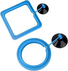 Senzeal 2PCS Fish Feeding Ring Aquarium Round and Square Floating Food Feeder Circle with Suction Cup for Fish Tank