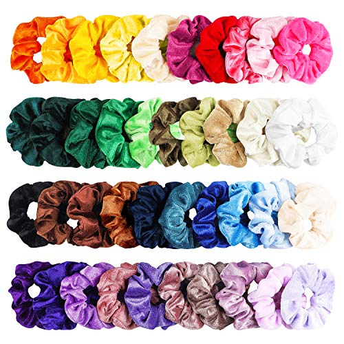 (WATINC 40Pcs Colorful Velvet Hair Scrunchies Set, Elastic Hair Bobbles for Ponytail Holder, Strong Hold Hair Accessories Ropes Scrunchie for Women & Girls, Solid Color Traceless Hair Bands for)