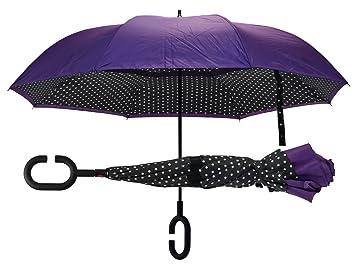 d8d8028375a3 Polka Dot Purple Revers-A-Brella No-Drip Inverted Auto Open Close C-Handle  Umbrella